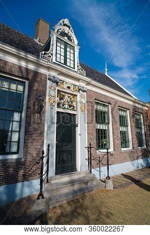 Zaanse Schans, Netherlands - October 13, 2018: Facade Of A Monumental House In The Zaanse Schans, A