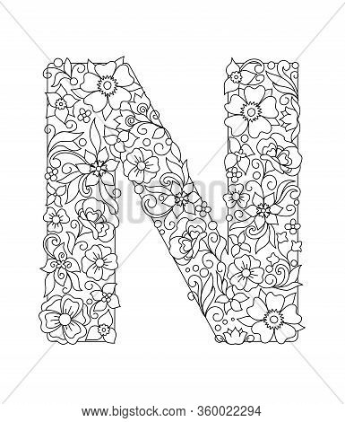 Capital Letter N Patterned With Hand Drawn Doodle Abstract Flowers And Leaves. Monochrome Page Anti