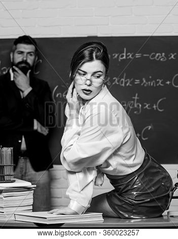 Teaching Is Her Desire. Sensual Teacher Flirt With Student. Sexy Woman Seduce Bearded Man In Class.