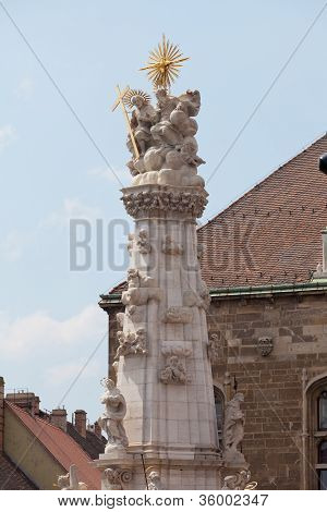 Plague columnFisherman Bastion on the Buda Castle hill in Budapest