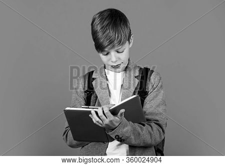 Practice Makes Perfect. Small Child Do Homework. Little Boy Write In Homework Diary And Record Book.