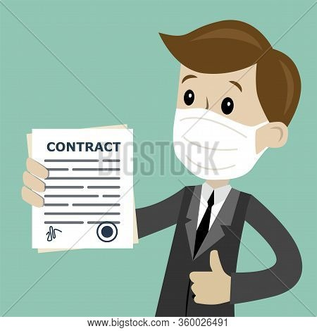 Businessman In Medical Mask Holding A Contract With Signature. Good Deal. Happy, Smile. Job Is Finis