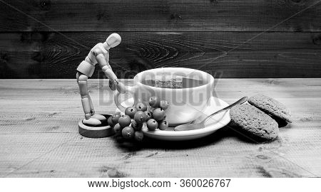 Cafe Menu. Berry Tea. Ceramic Cup Hot Fresh Brewed Tea Beverage. Drink Aromatic Rowanberry Beverage.