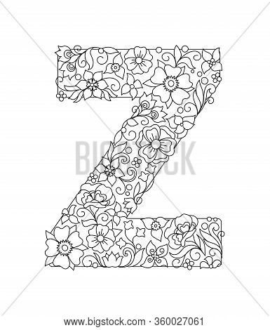 Capital Letter Z Patterned With Hand Drawn Doodle Abstract Flowers And Leaves. Monochrome Page Anti
