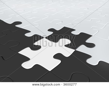 3d puzzles of black and white color poster
