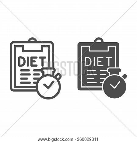 Diet Menu And Timer Line And Solid Icon. Menu Plan Checklist With Clock Outline Style Pictogram On W