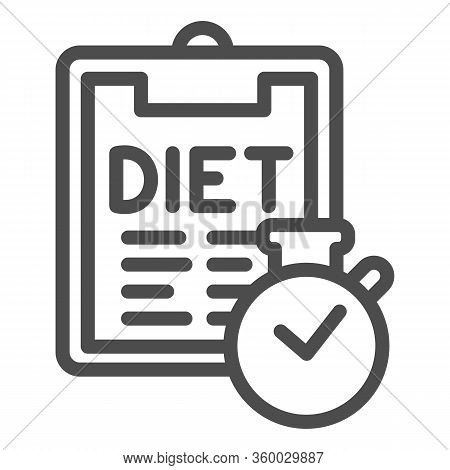 Diet Menu And Timer Line Icon. Menu Plan Checklist With Clock Outline Style Pictogram On White Backg