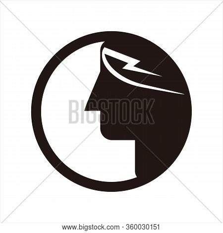 Head Icon, Teen Or Adult Profile, Image Isolated On A White Background, Stock Vector Illustration.