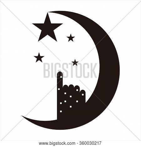 Moon And Star Icons, Isolated Moon And Star Icons With A White Background. Moon And Star Icons. Flat