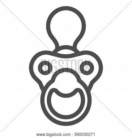 Baby Nipple Line Icon. Child Silicone Dummy Outline Style Pictogram On White Background. Babys Dummy