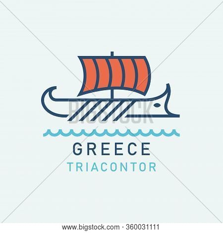 Ancient Greek Ship. Ancient Greek Galley With Oars And Sails