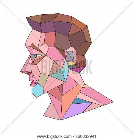 Head Portrait Of A Young Man. Abstract Polygonal Geometric Modern Minimal Flat Illustration.stained