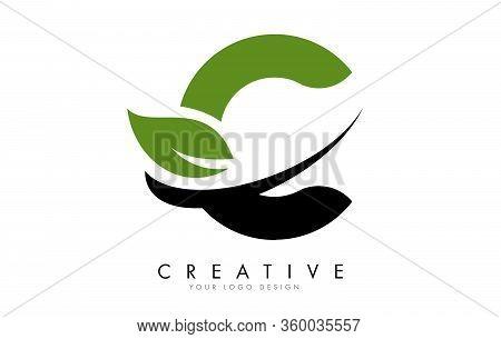 Letter C With Leaf And Creative Swoosh Logo Design. Eco Letter Vector Illustration.