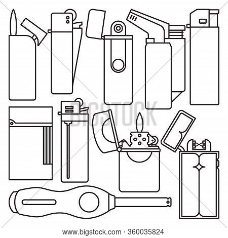 Lighter Of Flame Vector Outline Set Icon. Isolated Outline Set Icon Equipment For Ignite. Vector Ill