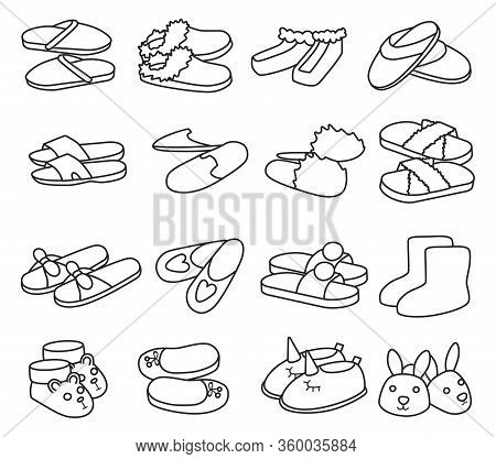 House Slipper Outline Vector Set Icon. Isolated Outline Icon Slipper And Shoes.vector Illustration S