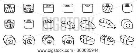 Sushi Isolated Vector Set Icon. Vector Illustration Japanese Food On White Background . Outline Set