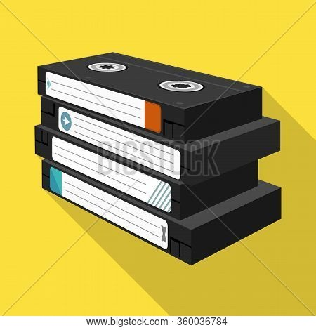 Vector Illustration Of Cassette And Videotape Sign. Web Element Of Cassette And Stack Stock Symbol F