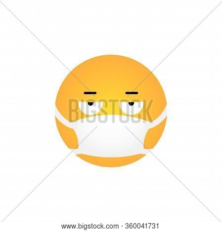 Displeased Kawaii Emoticon With Medical Mask Isolated On White Background. Corona Virus Protection C