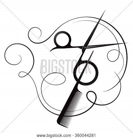 Hair Stylist Scissors And Comb Silhouette Beauty