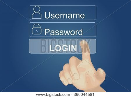 Login Interface On Touch Screen. Touching Login Box, User Name And Password Inputs On Virtual Digita