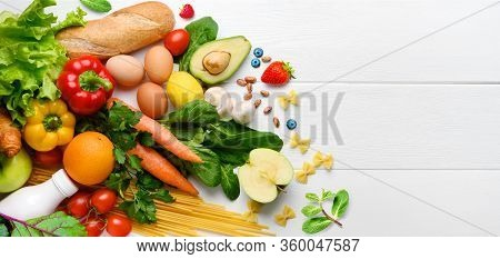 Healthy Food Background. Food Photography Different Fruits And Vegetables On White Wooden Table Back