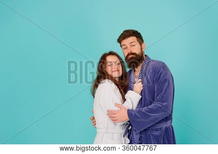 Sleepy People Blue Background. Couple Sleepy Faces Domestic Clothes. All Day Pajamas. Couple In Love