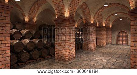 Background Of Wine Barrels In Wine-vaults. Interior Of Wine Vault With Wooden Barrels. 3d Rendering
