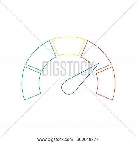 Speedometer Or Tachometer With Arrow. Infographic Gauge Element. Template For Download Design. Color