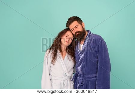 Get More Sleep. Bearded Man And Sexy Woman Sleep Blue Background. Couple In Love Take Nap. Sleep Tim