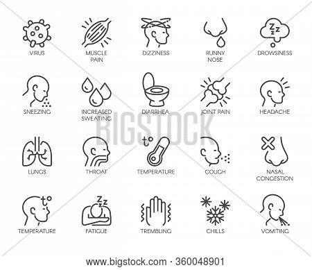 Icons Symptoms Respiratory Sickness Pneumonia, Flu, Fever