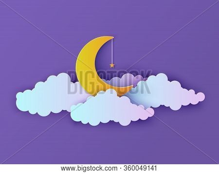 Night Sky In Paper Cut Style. Cut Out 3d Background With Violet And Blue Gradient Cloud And Gold Sta