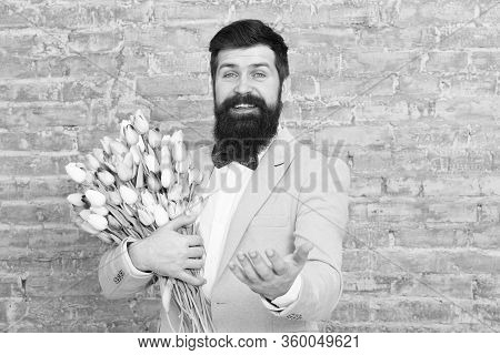 Romantic Man With Flowers. Romantic Gift. Macho Getting Ready Romantic Date. Tulips For Sweetheart.