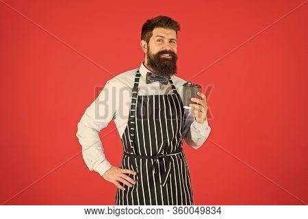 Business On The Go. Skilled Servant. Barista Hipster Chef Apron. Elegant Confident Bartender. Male D