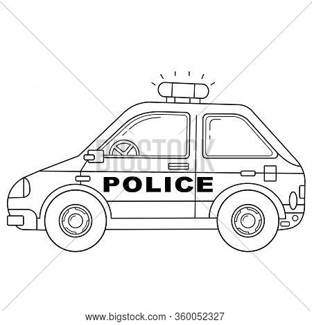 Coloring Page Outline Of Cartoon Police Car. Police. Images Transport Or Vehicle For Children. Vecto