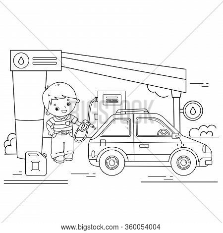 Coloring Page Outline Of Cartoon Driver With Car On Petrol Station. Images Transport Or Vehicle For