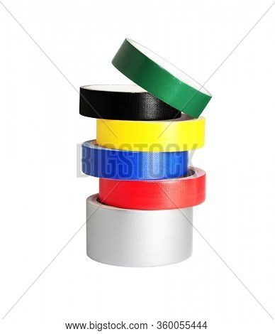 Stack of Colour Duck Tapes on White Background