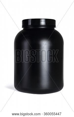 Large Black Plastic Container on White Background