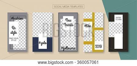 Social Stories Cool Vector Layout. Blogger Trendy Covers, Social Media Kit Template. Modern Sale, Ne