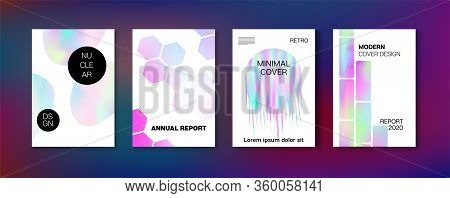 Holographic Gradient Vector Background. Hologram Business Soft Covers Set. Rainbow Magazine Print Te