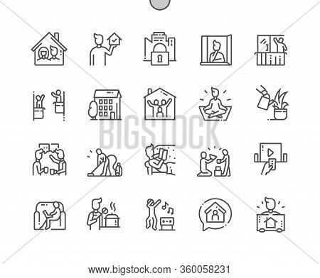 Stay At Home Well-crafted Pixel Perfect Vector Thin Line Icons 30 2x Grid For Web Graphics And Apps.