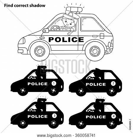 Educational Puzzle Game For Kids. Find Correct Shadow. Police Car. Coloring Page Outline Of Cartoon