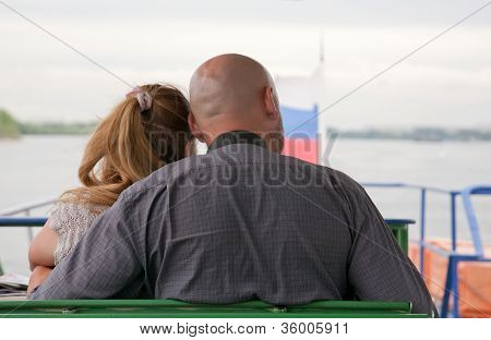 married couple goes for a drive on the walking steam-ship