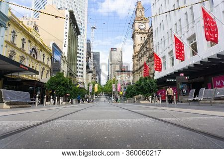 Melbourne Australia - March 14 2020; Nearly Deserted Due Corona Virus Pandemic  Usually Busy Bourke
