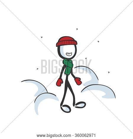 Man Wearing Winter Hat Scarf And Gloves. Cold Season Outdoor Fun. Hand Drawn. Stickman Cartoon. Dood