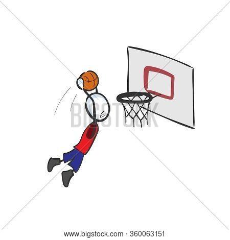 Basketball Player Score. High Jump. Hand Drawn. Stickman Cartoon. Doodle Sketch, Vector Graphic Illu