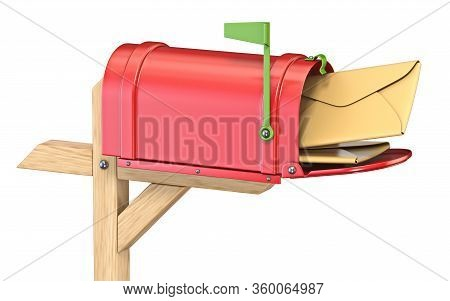 Mailbox With Flag Up Full Of Mails 3d Render Illustration Isolated On White Background