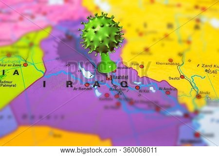 Covid-19 Outbreak Or New Coronavirus, 2019-ncov, Virus Pin In Baghdad On Map Of Iraq. Covid 19-ncp V
