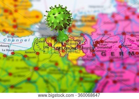 Covid-19 Outbreak Or New Coronavirus, 2019-ncov, Virus Pin In Brussels On Map Of Belgium. Covid 19-n