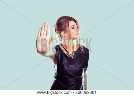 Stop, No. Closeup Portrait Young Annoyed Angry Woman Giving Talk To Hand Gesture With Palm Outward I