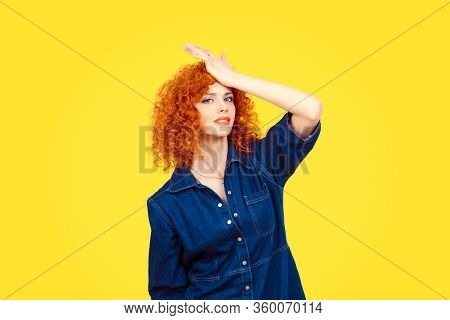 Regrets Wrong Doing. Closeup Portrait Silly Young Redhead Curly Woman Slapping Hand On Head Having D